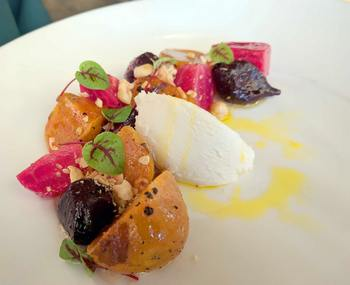 heirloom beets at On the Twenty restaurant at Cave Spring Cellars