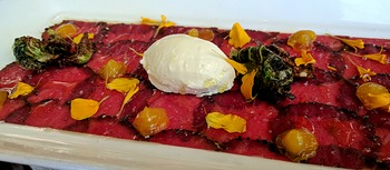 venison carpaccio at On the Twenty at Cave Spring Cellars