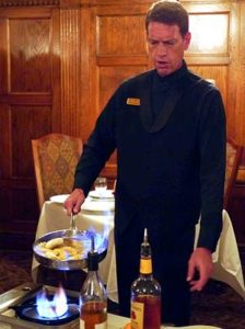 Making Bananas Foster at Brown Hotel's English Grill