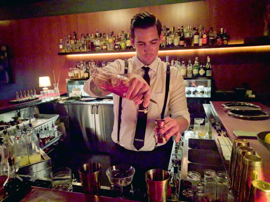 Bartender mixes Remember the Maine at Mr. Lee's Lounge in Louisville