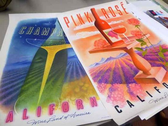 Wine posters at Sonoma Wine Library in Healdsburg