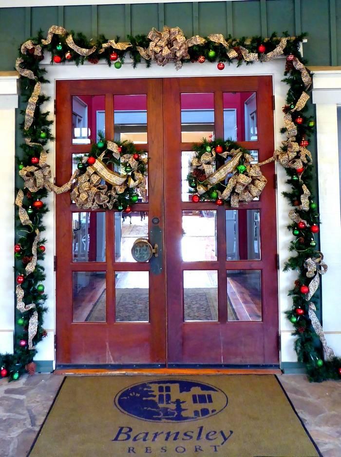 Barnsley front door at Christmas