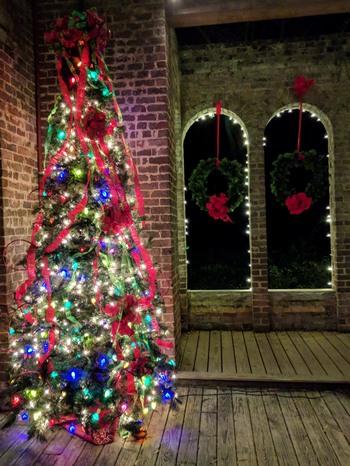 Barnsley ruins with Christmas trees