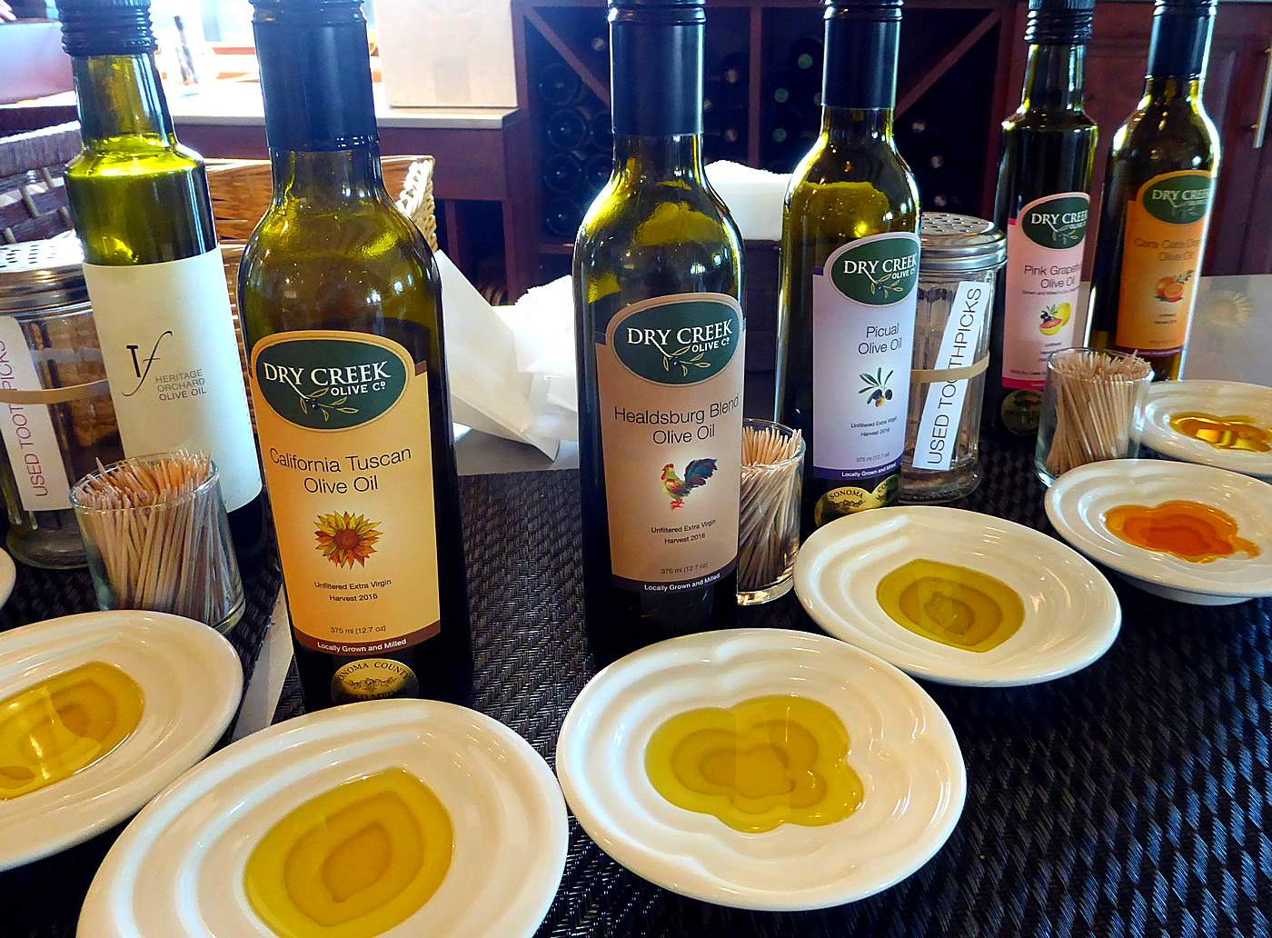 Dry Creek Olive Co. oils at Trattore tasting room