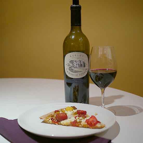 La Forge Merlot with ratatouille pizza