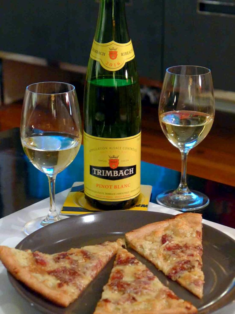 Trimbach Pinot Blanc sparkles with Alsatian flatbread
