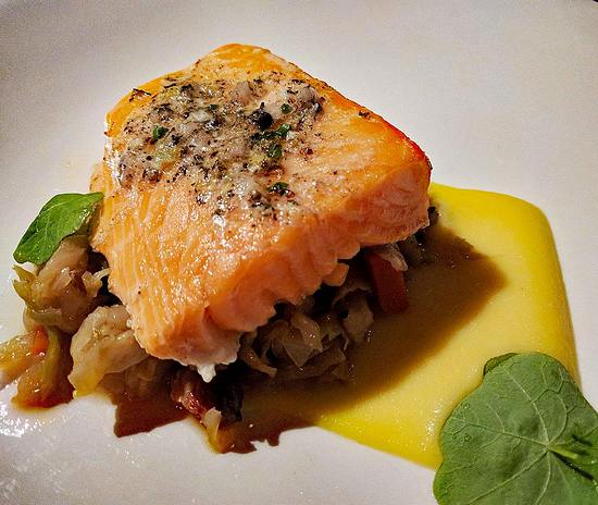 Salmon on braised cabbage at Harvest
