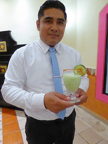 Alejandro Santos with margarita at Occidental Cozumel