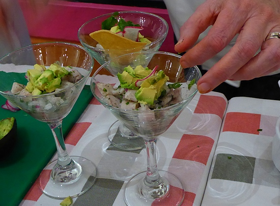 garnishing ceviche at Occidental Cozumel