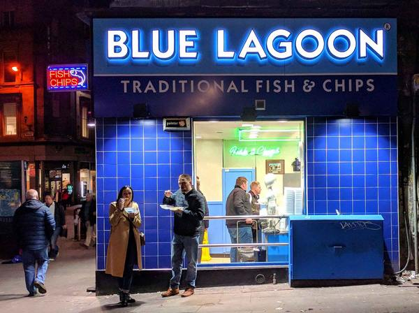 Blue Lagoon fish and chips joint in Glasgow