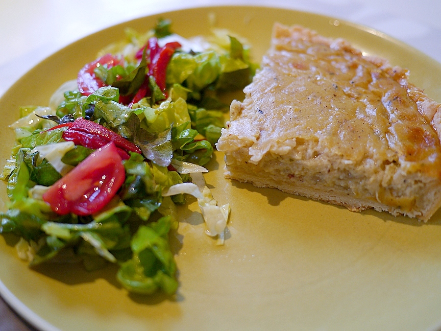 Alsatian onion tart on plate