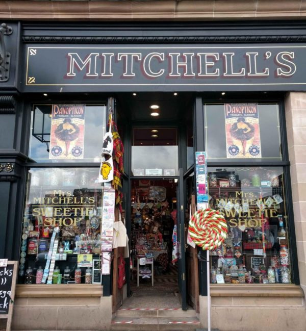 exterior of Mrs. Mitchell's Sweetie Shop in Glasgow