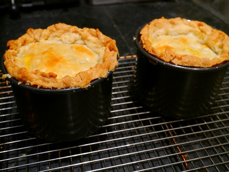 pies from oven cooling