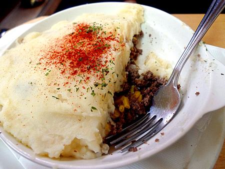 Pâté Chinois, the Quebec version of shepherd's pie with layers of corn, ground beef, and mashed potatoes, is just one of the Quebecois standards served at La Binerie.