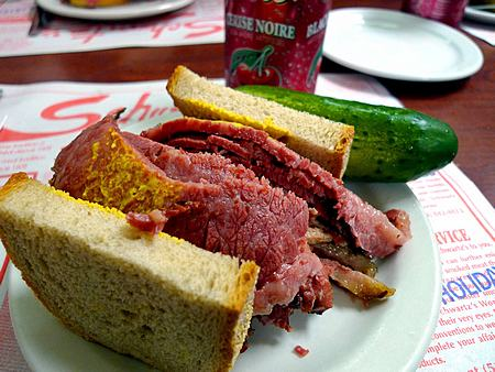 Schwartz's smoked meat sandwich is an icon of Montreal popular culture.