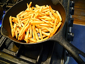 fries in pan for tortilla