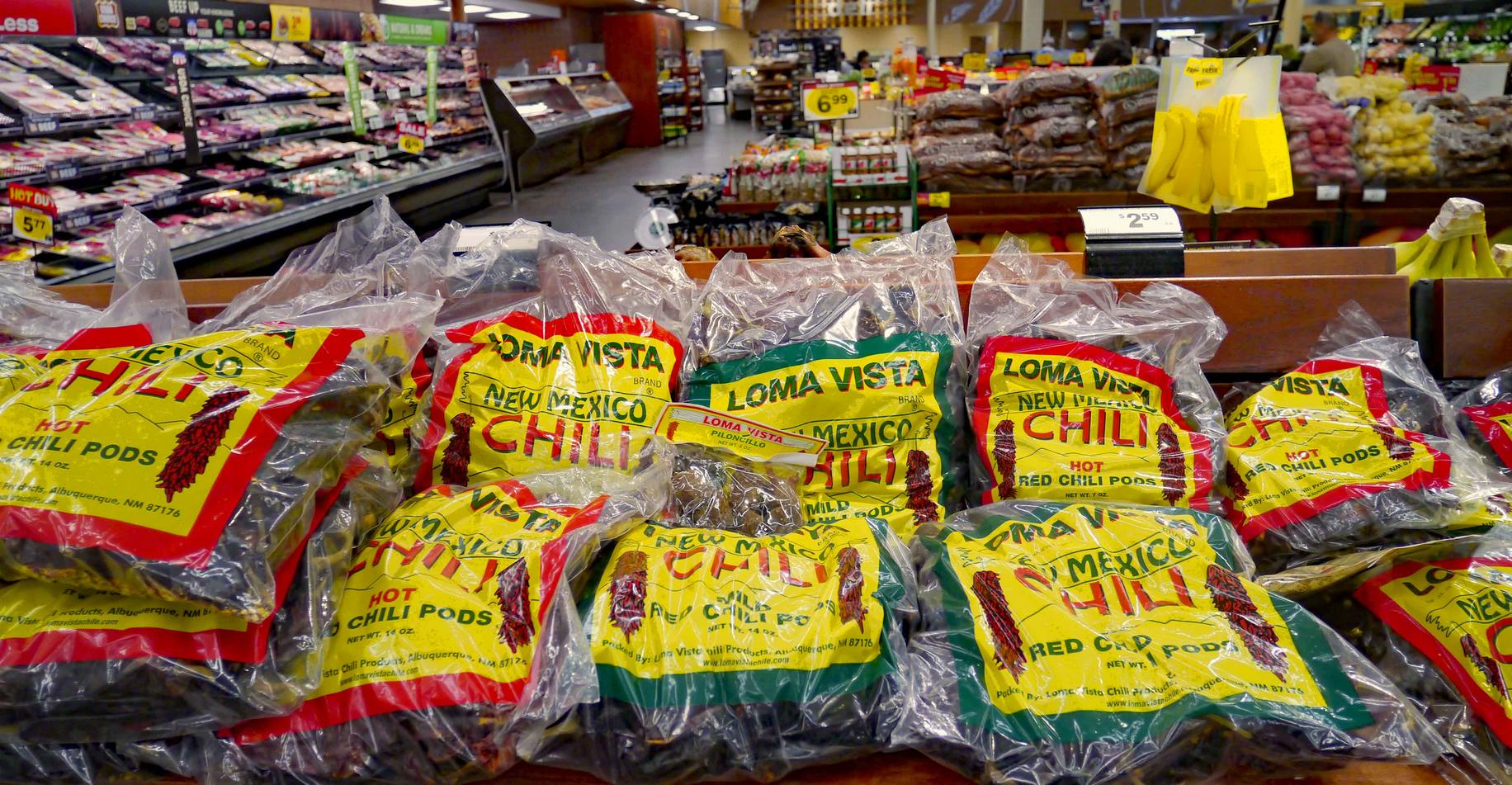 bags of dried chiles in New Mexico grocery store