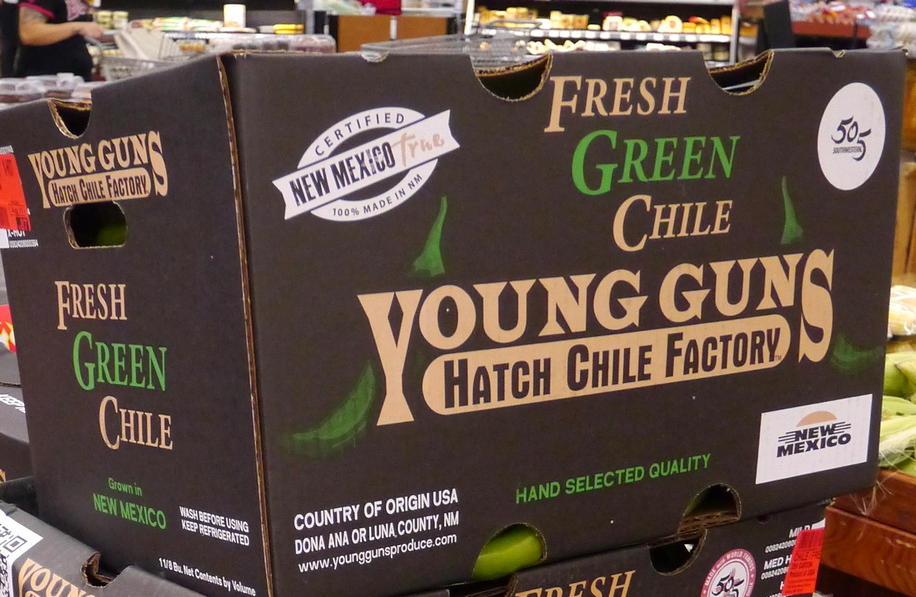 Fresh green chile in New Mexico grocery store
