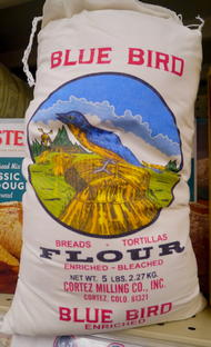Blue Bird Flour bag in New Mexico grocery store