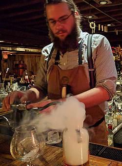 Smoking whiskey at Blind Lion Speakeasy in Deadwood, SD
