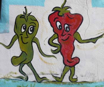 Dancing chiles at Little Red Hamburger Hut