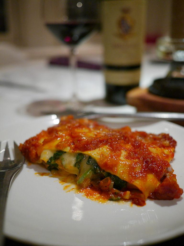 Christmas lasagna with Brolio Chianti Classico