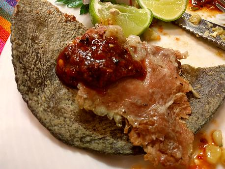 El Hidalguense meat on tortilla