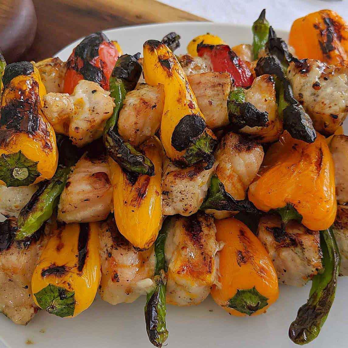sturgeon and pepper kebabs